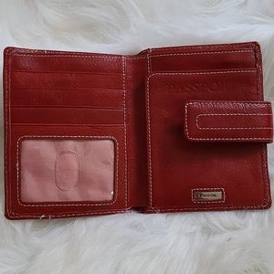 Fossil red & white stitch leather passport wallet